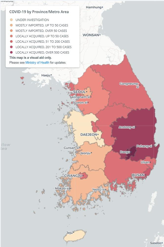 International SOS map of affected provinces in Korea